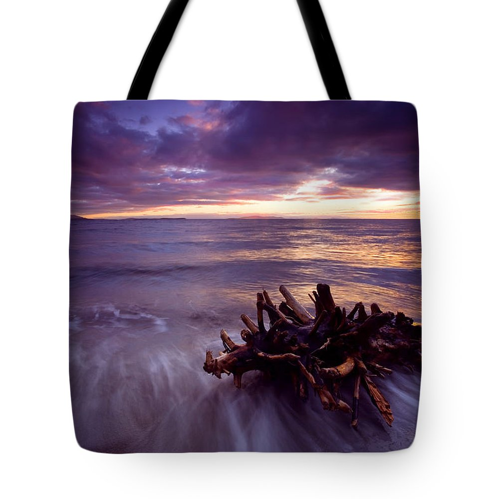 Sunset Tote Bag featuring the photograph Tide Driven by Mike Dawson