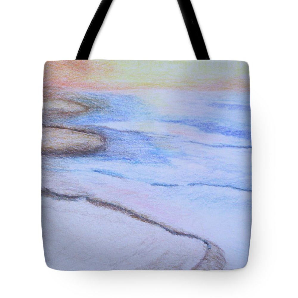 Landscape Tote Bag featuring the drawing Tide Is Out by Suzanne Udell Levinger