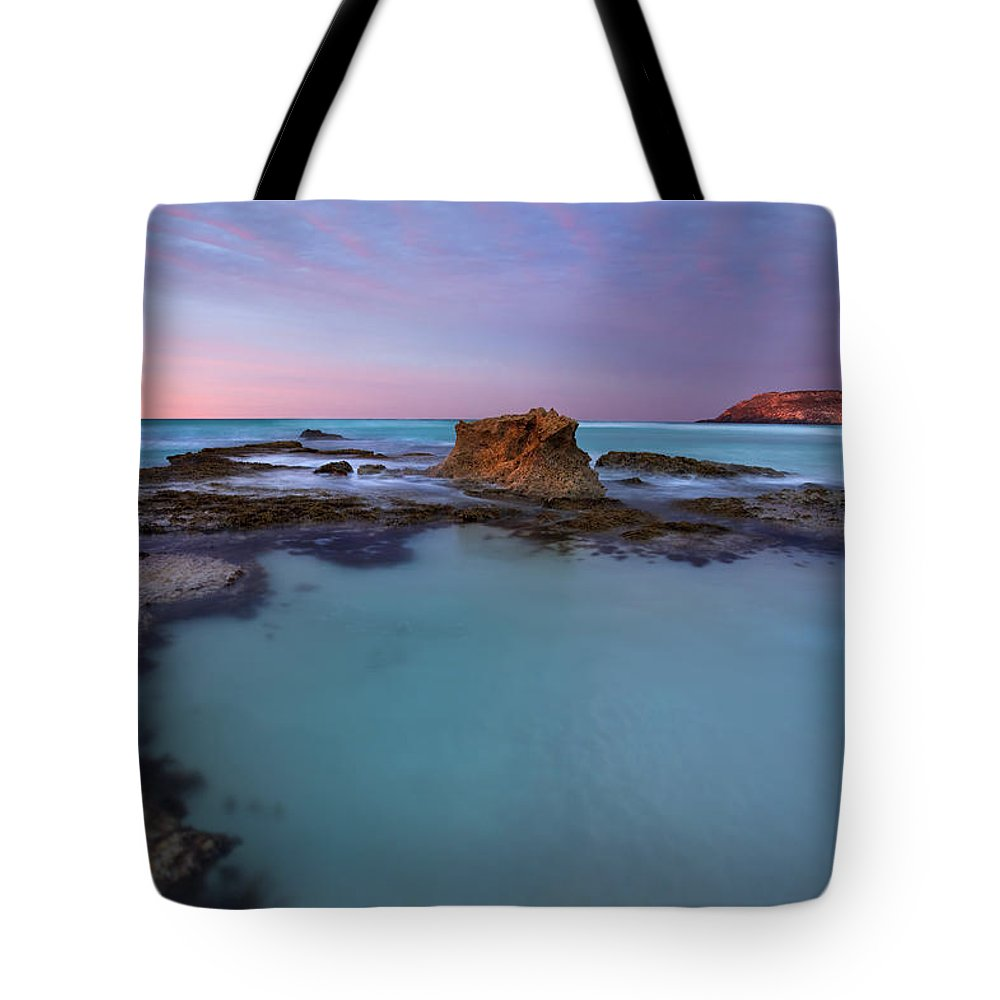 Seascape Tidepools Tote Bag featuring the photograph Tidepool Dawn by Mike Dawson