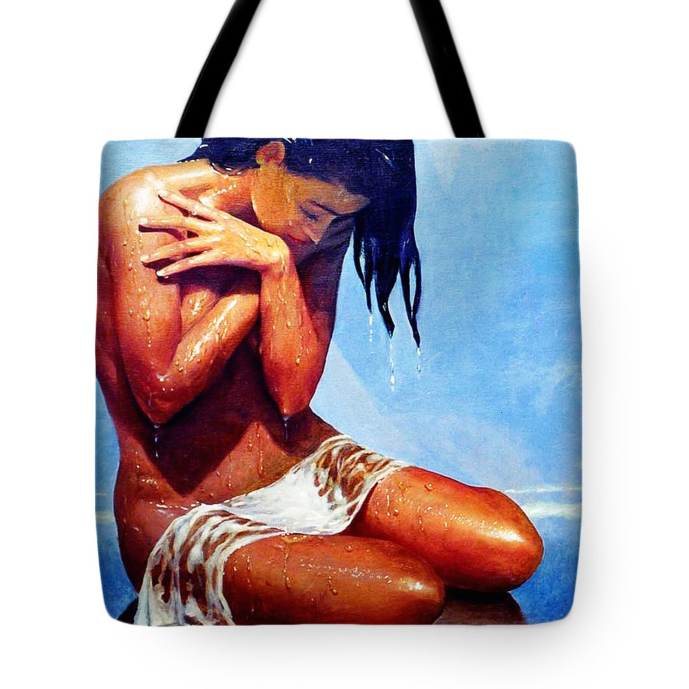 Beauty Tote Bag featuring the painting Tidewater Player by LoveyUp Gallery