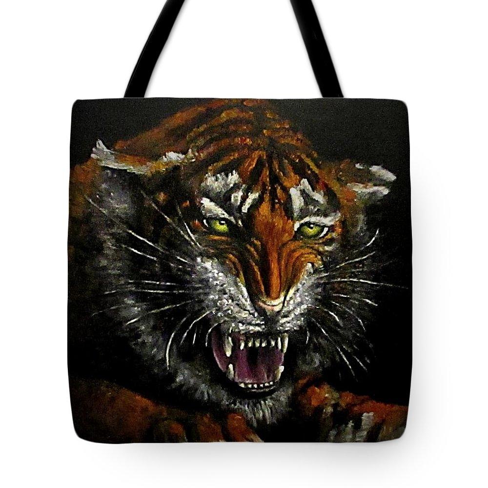 Animal Tote Bag featuring the painting Tiger-1 Original Oil Painting by Natalja Picugina