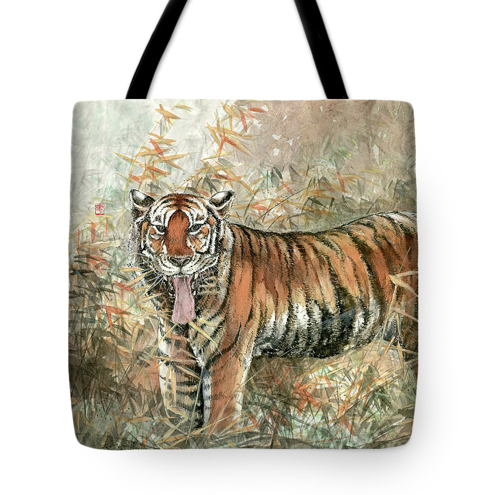 Tiger Tote Bag featuring the painting Tiger - 28 by River Han