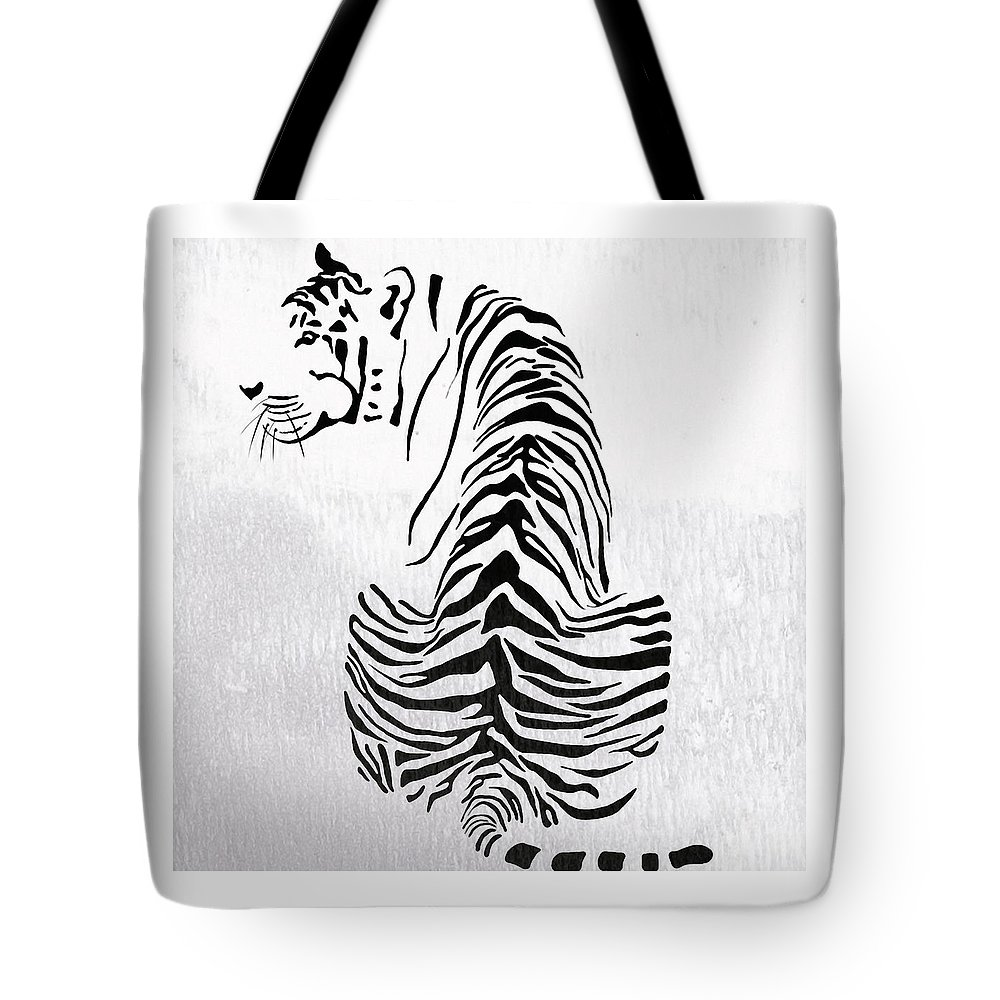 Tiger Tote Bag featuring the painting Tiger Animal Decorative Black And White Poster 4 - By Diana Van by Diana Van
