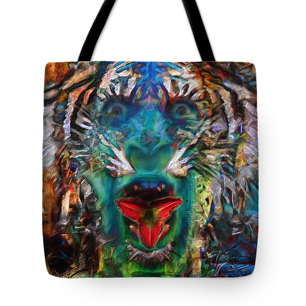 Tiger Tote Bag featuring the digital art Tiger Blood by Ethan Chodos