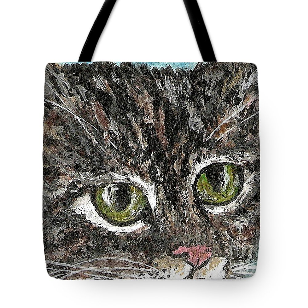 Cats Tote Bag featuring the painting Tiger Cat by Reina Resto