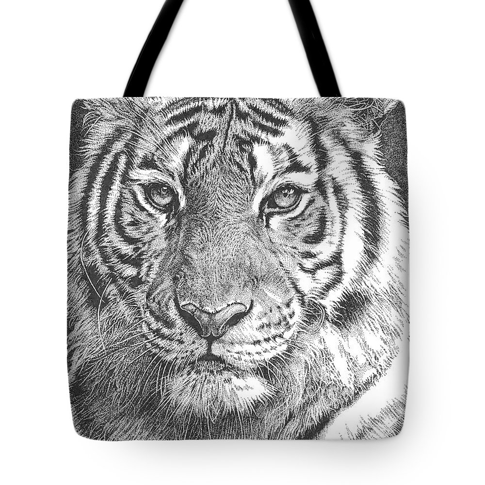 Tiger Tote Bag featuring the drawing Tiger by Deven Singh Kshetrimayum