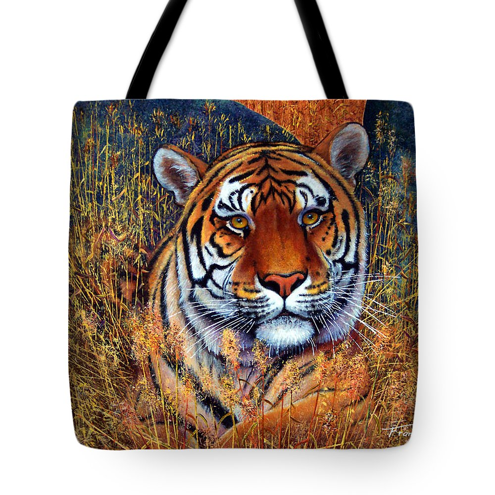 Tiger Tote Bag featuring the painting Tiger by Frank Wilson