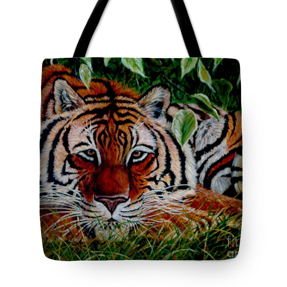 Tiger Tote Bag featuring the painting Tiger In Jungle by Nick Gustafson