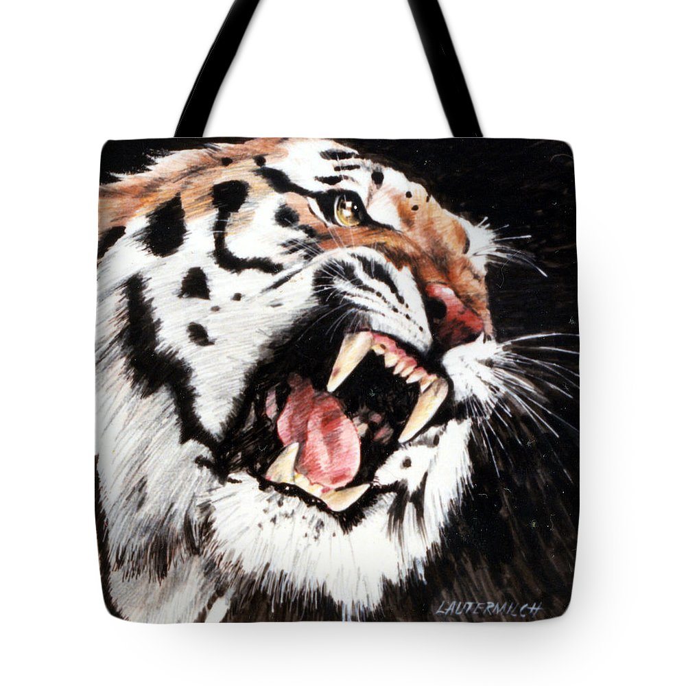 Tiger Roaring Tote Bag featuring the painting Tiger by John Lautermilch