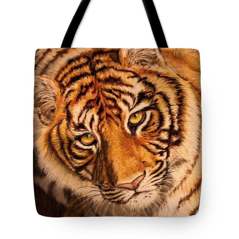 Tiger Tote Bag featuring the drawing Tiger by Karen Ilari