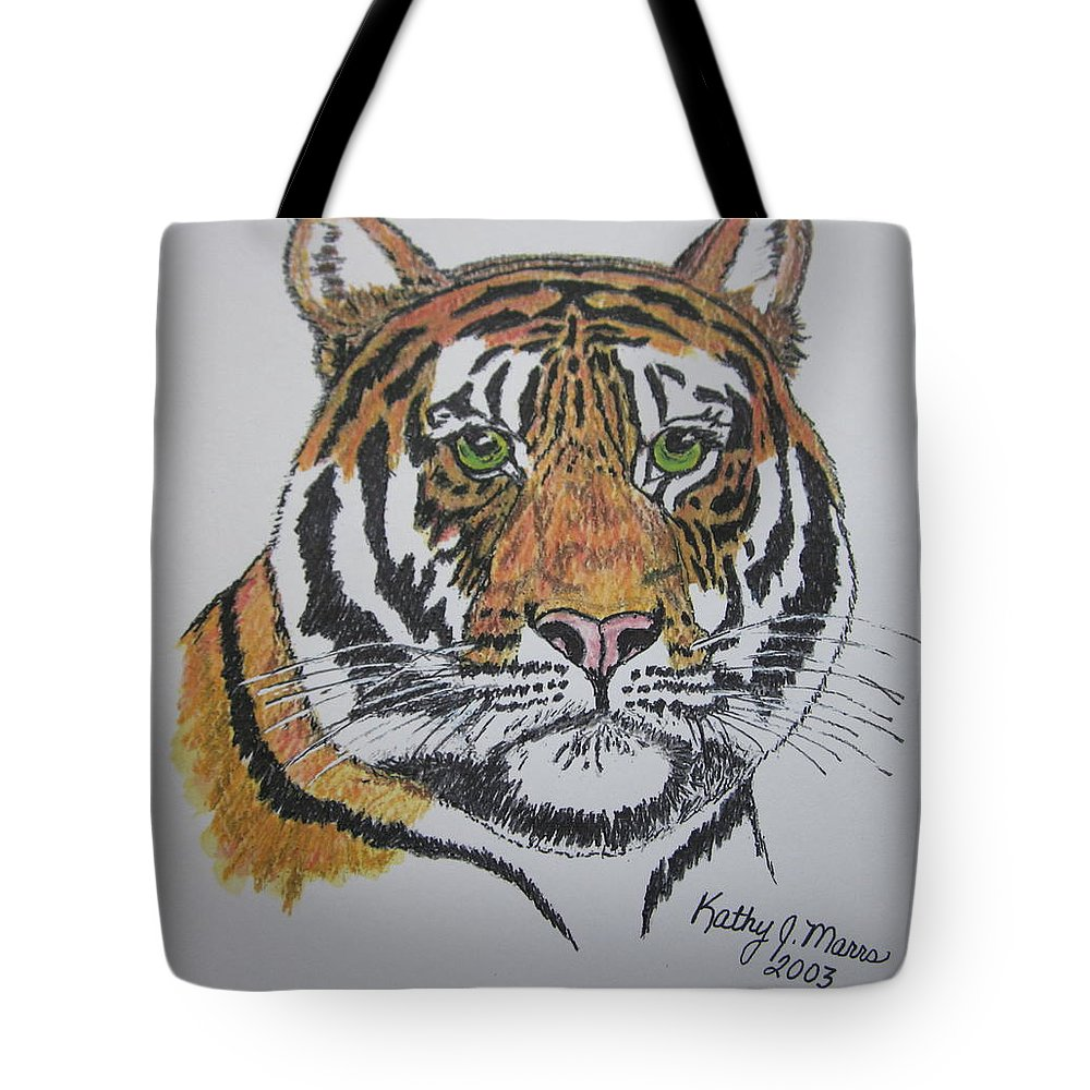 Bengal Tote Bag featuring the painting Tiger by Kathy Marrs Chandler