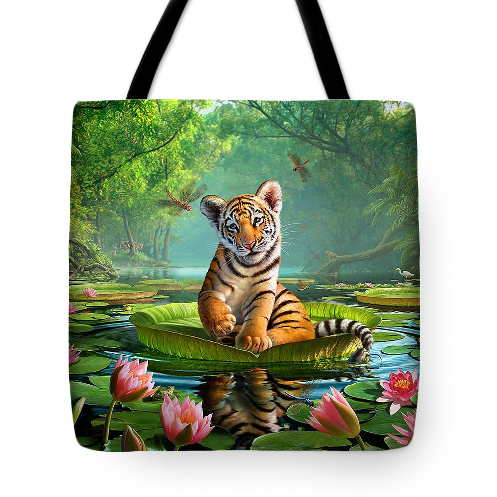 Tiger Tote Bag featuring the digital art Tiger Lily by Jerry LoFaro