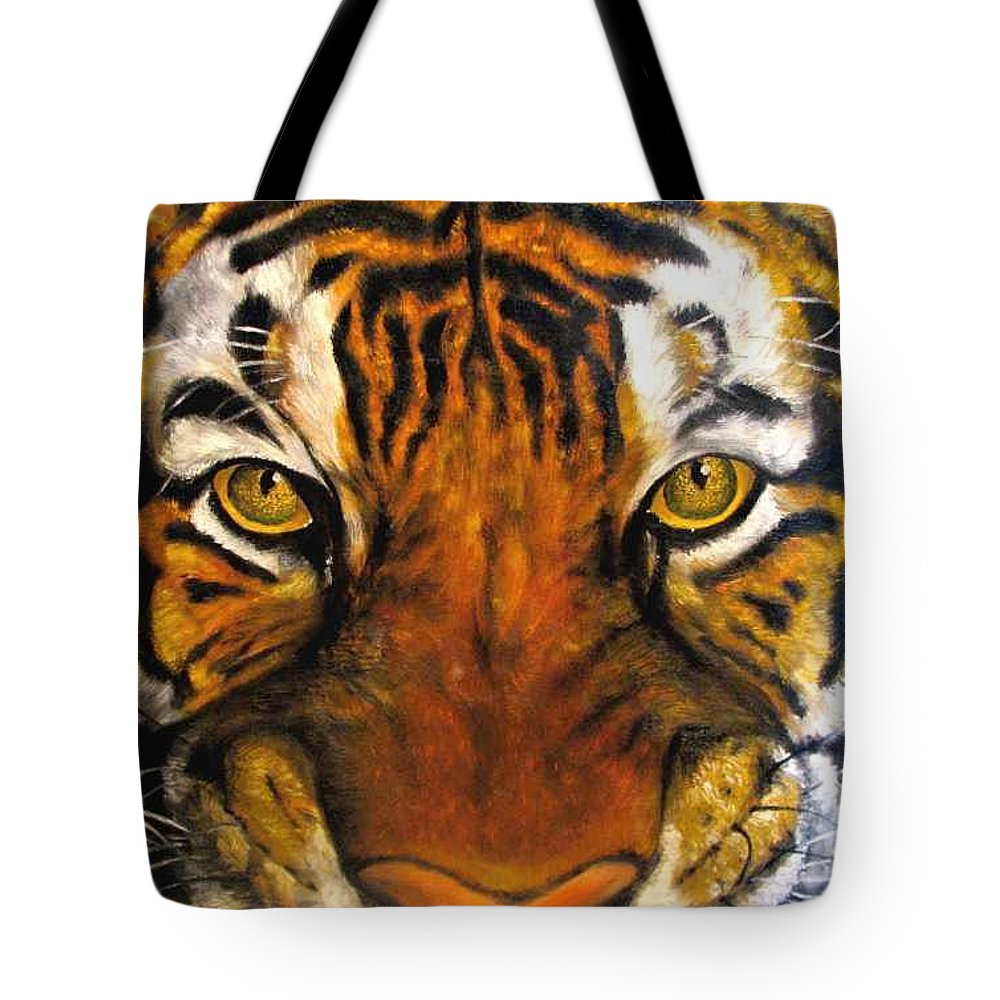 Tiger Tote Bag featuring the painting Tiger Mask Original Oil Painting by Natalja Picugina