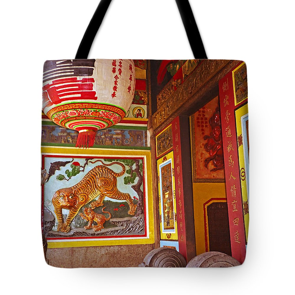 Vietnam Tote Bag featuring the photograph Tiger Mural by Rich Walter
