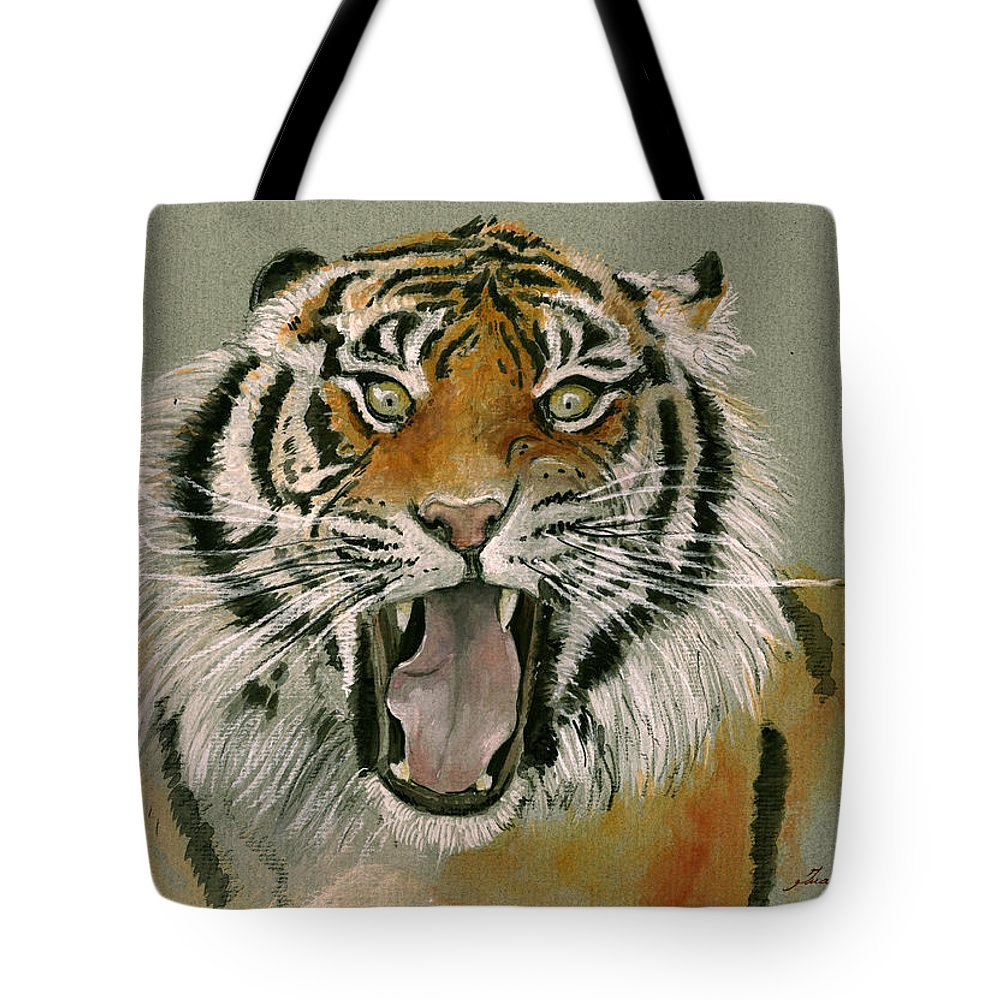 Tiger Art Tote Bag featuring the painting Tiger Portrait by Juan Bosco
