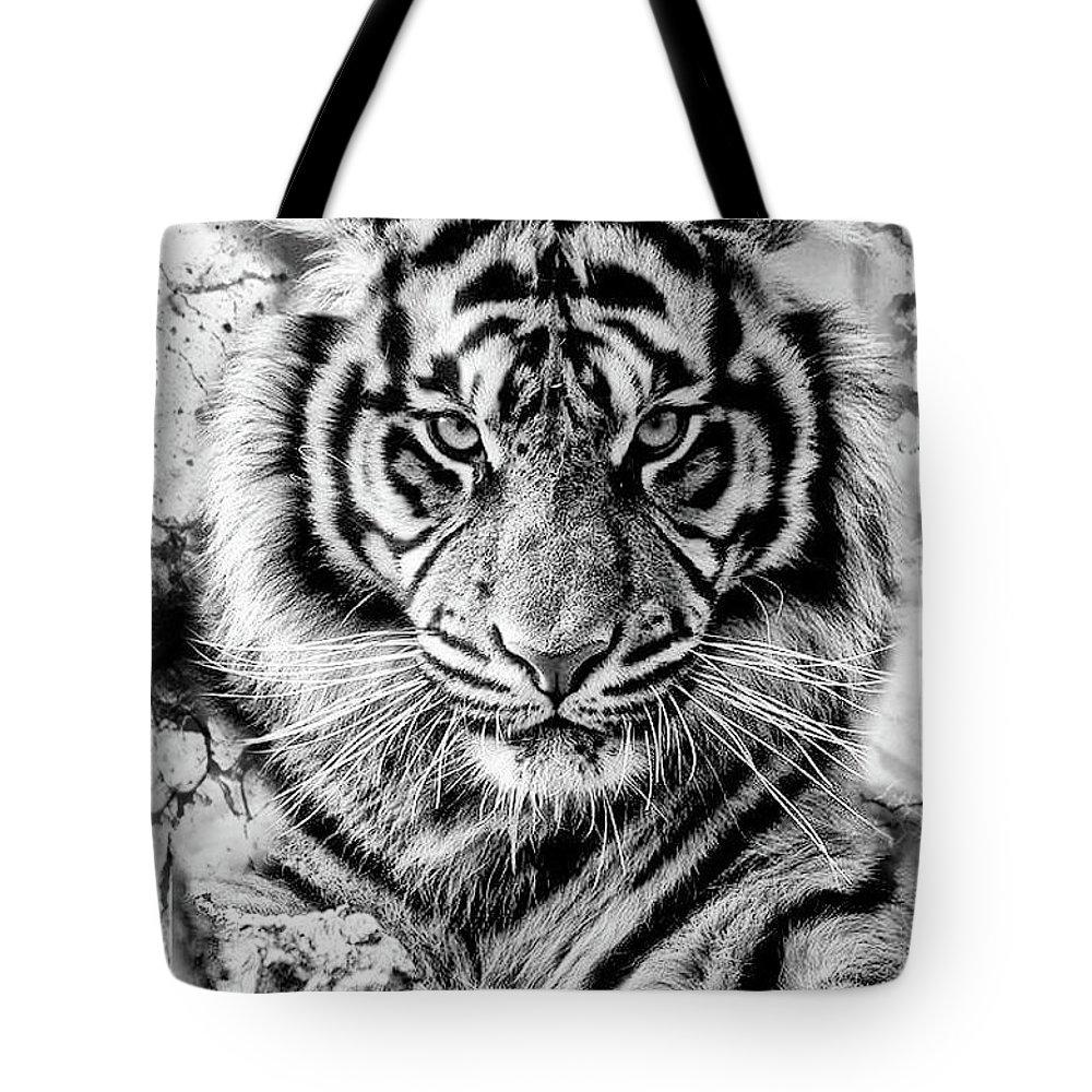 Iger Black Shadows Tote Bag featuring the digital art Tiger by Rodrigo Butcher