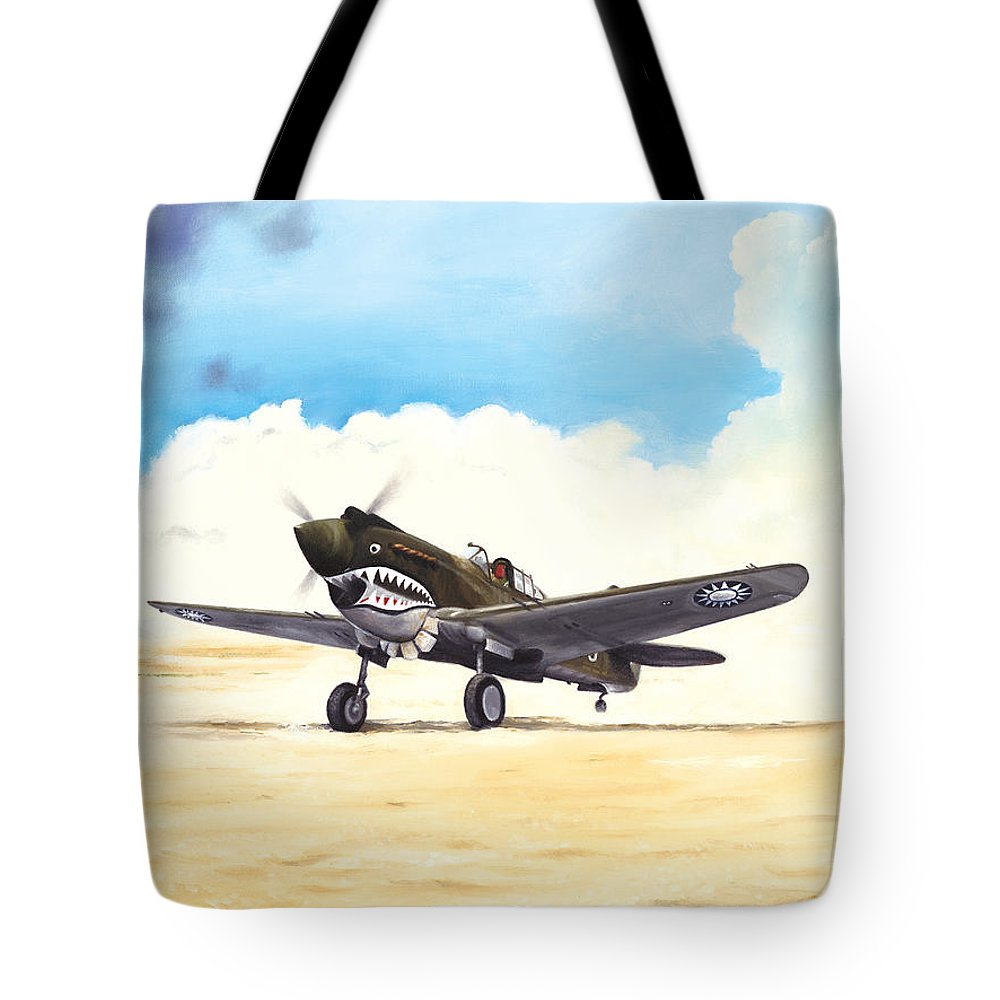 Aviation Tote Bag featuring the painting Tiger Scramble by Marc Stewart