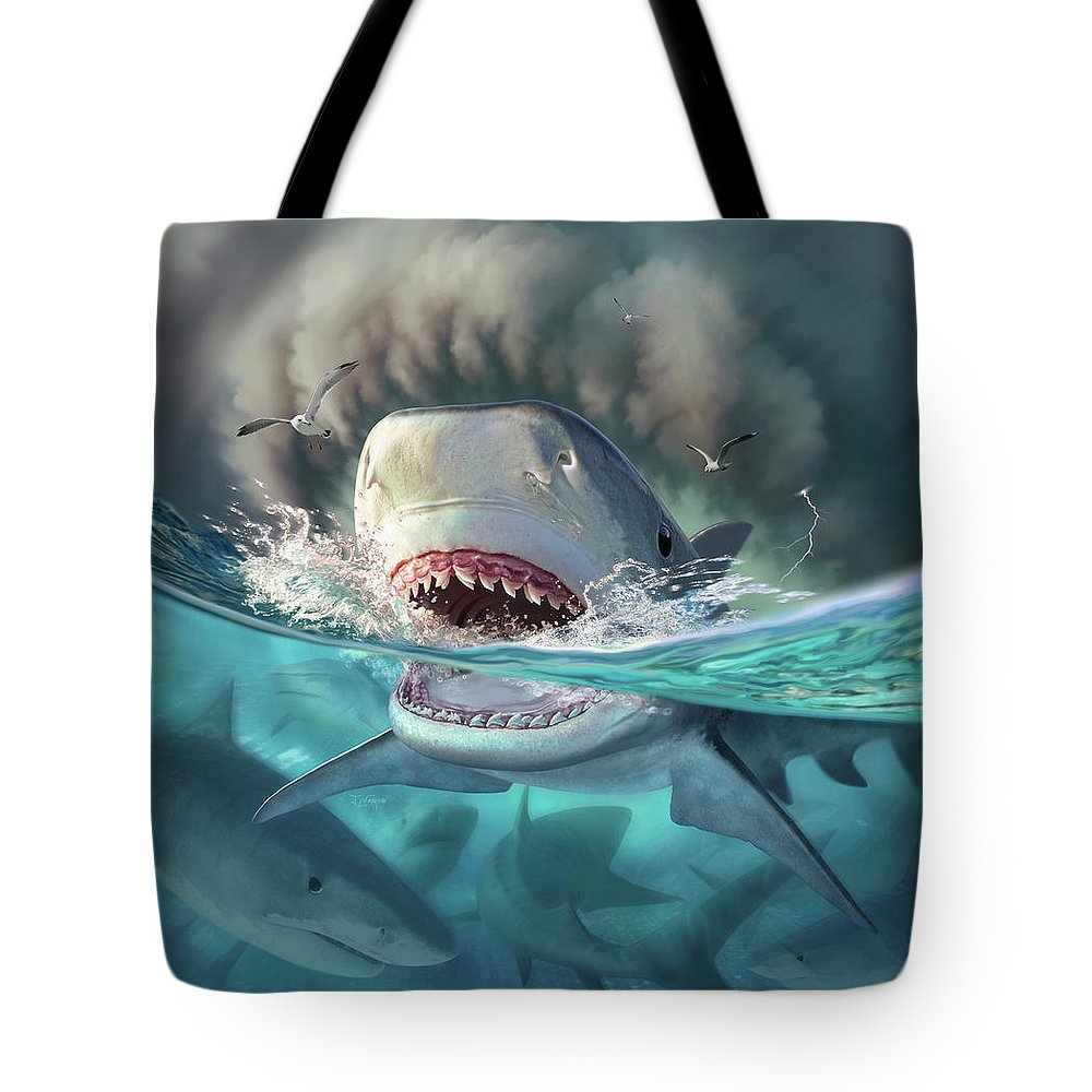 Shark Tote Bag featuring the digital art Tiger Sharks by Jerry LoFaro