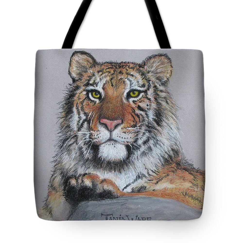 Tiger Tote Bag featuring the painting Tiger by Tanja Ware