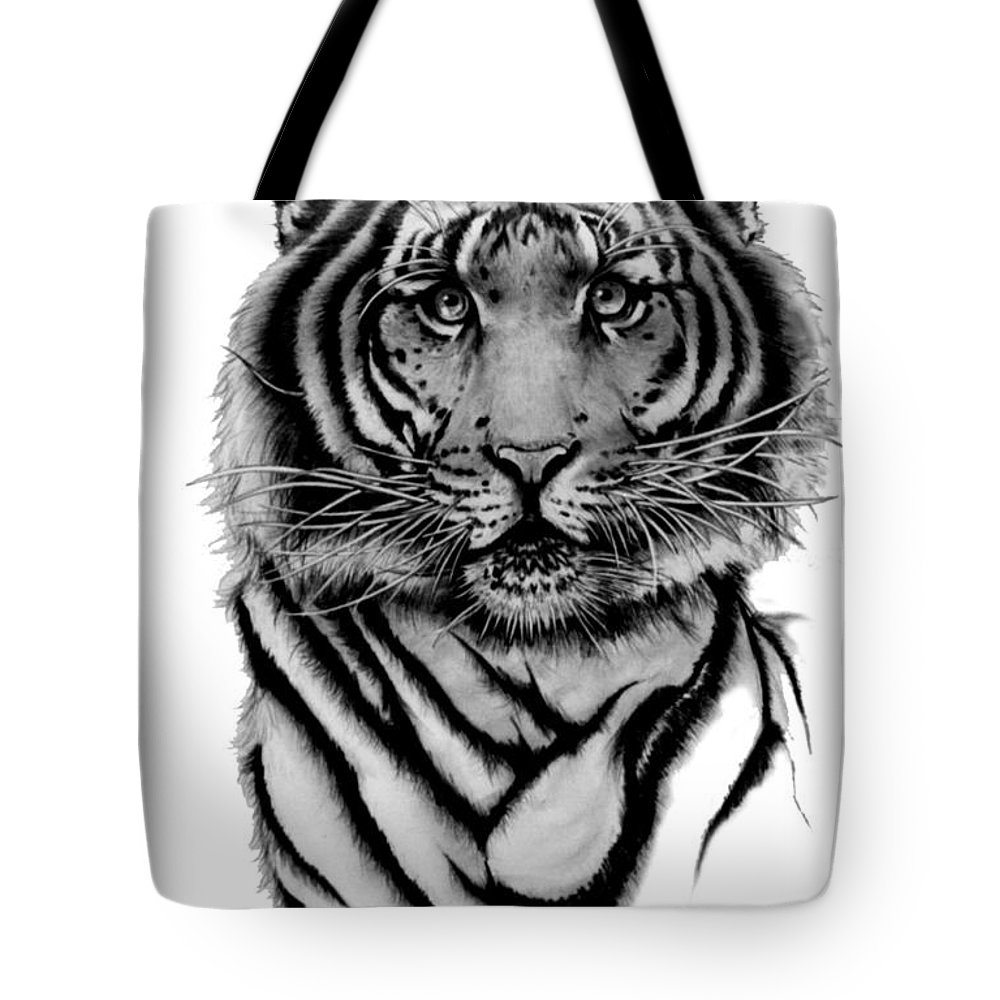 Tiger Tote Bag featuring the drawing Tiger Tiger by Duke Windsor