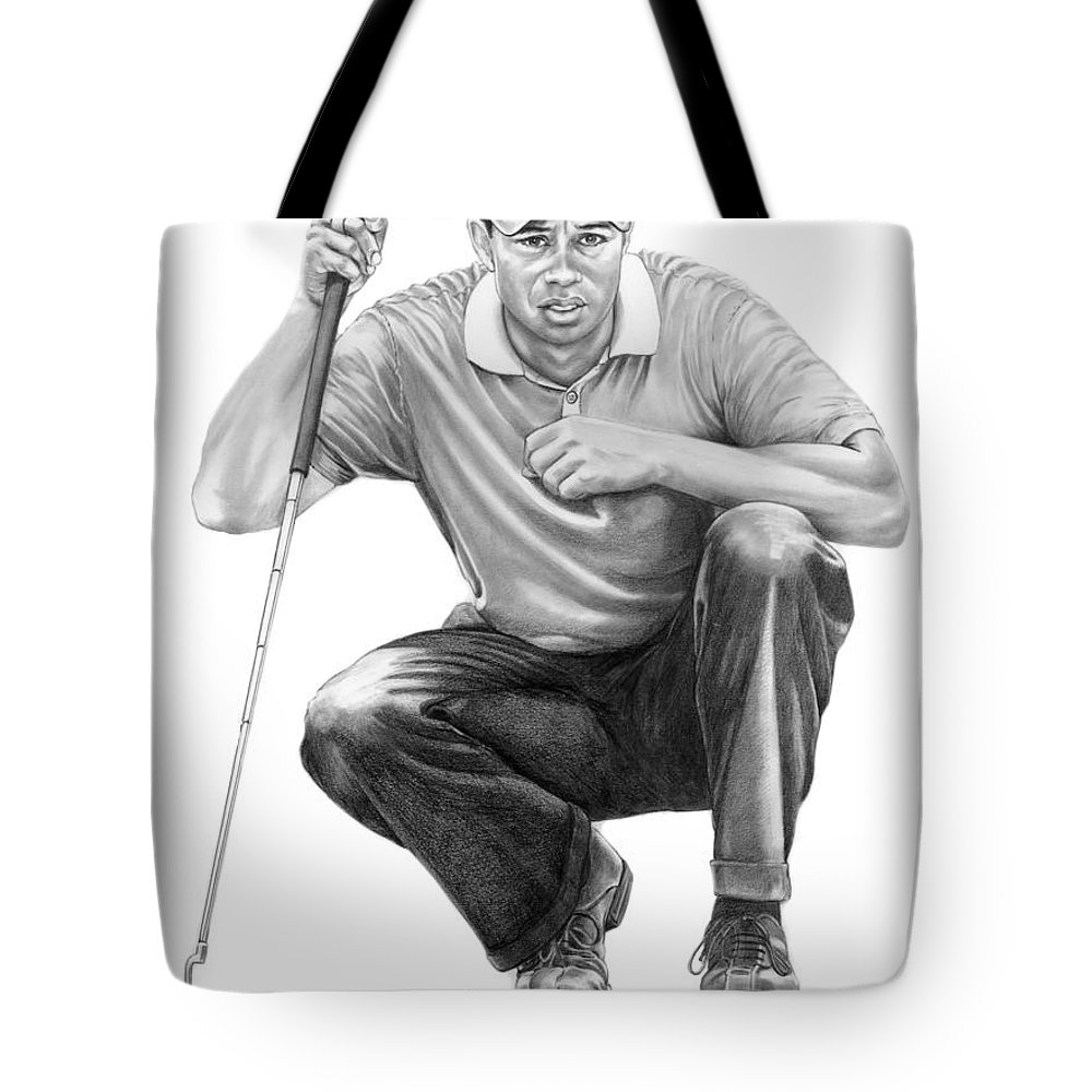Pencil Tote Bag featuring the drawing Tiger Woods Crouching Tiger by Murphy Elliott