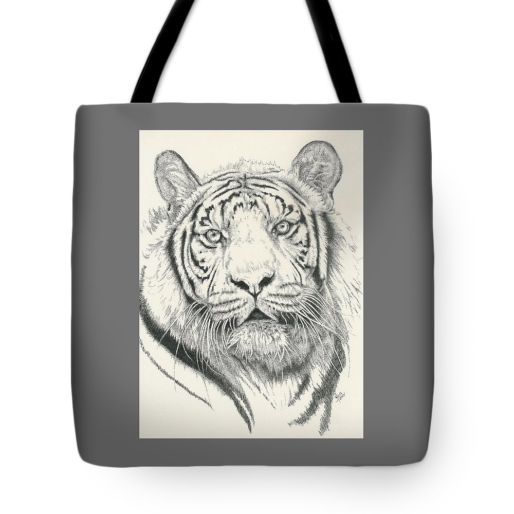 Tiger Tote Bag featuring the drawing Tigerlily by Barbara Keith