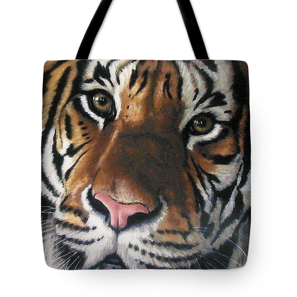 Tiger Tote Bag featuring the pastel Tigger by Barbara Keith