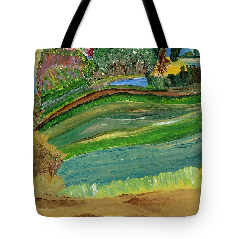 Landscape Tote Bag featuring the painting Tight Knit Community by Sara Credito