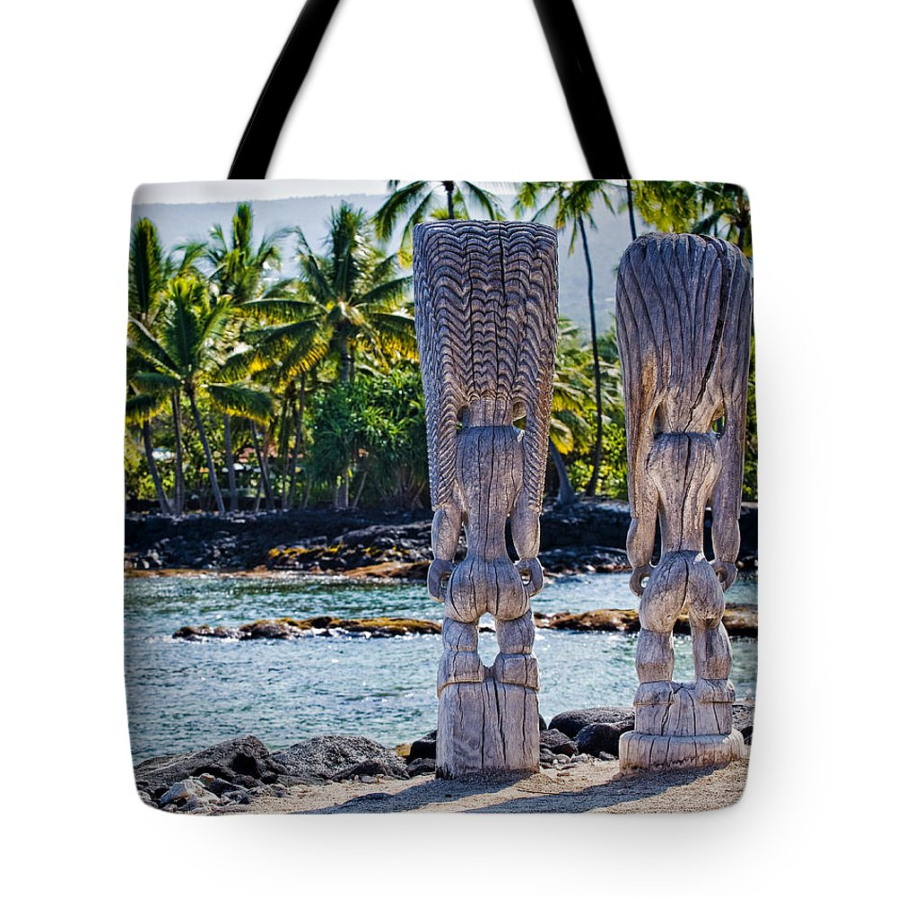 Tiki Tote Bag featuring the photograph Tiki Butts by Kelley King