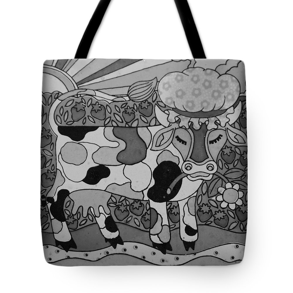Pop Art Tote Bag featuring the photograph Tile Cow by Rob Hans