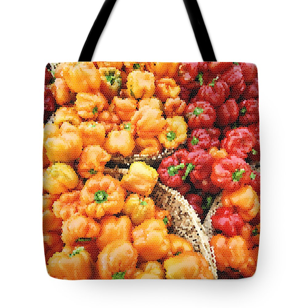 Peppers Tote Bag featuring the photograph Tile Peppers by Robert Ponzoni