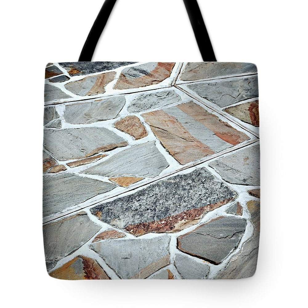 Structure Tote Bag featuring the photograph Tiles From Sandstone Quarried Stone by Jozef Jankola