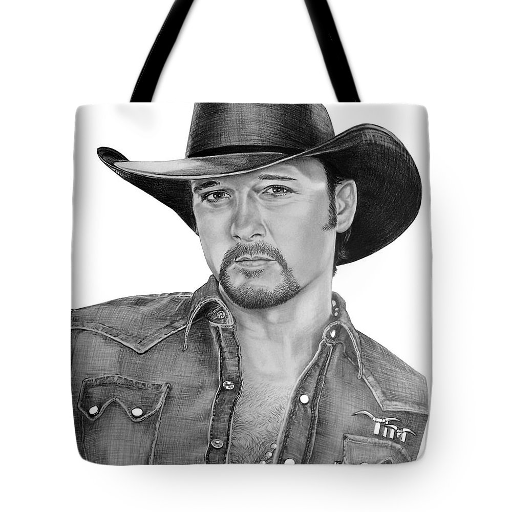 Portrait Tote Bag featuring the drawing Tim Mcgraw by Murphy Elliott