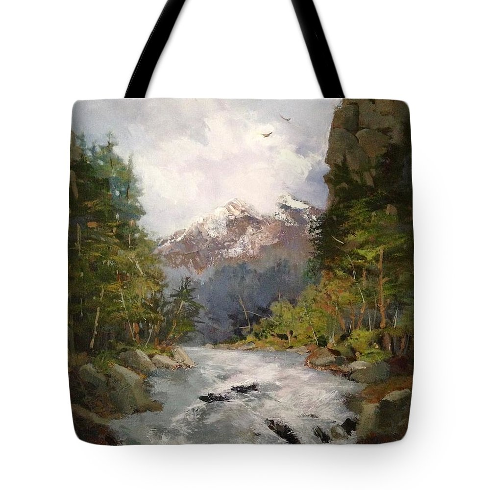 Landscape Tote Bag featuring the painting Timberlands by Helen Harris