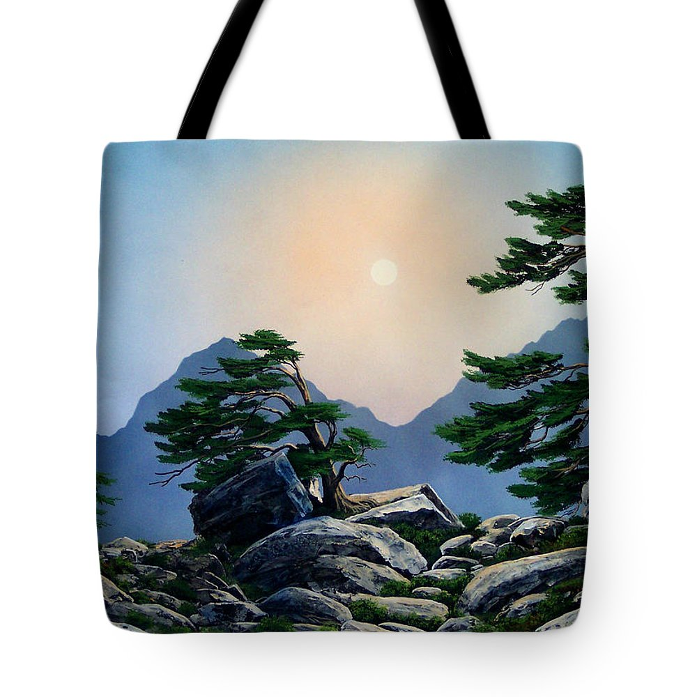 Timberline Guardians Tote Bag featuring the painting Timberline Guardians by Frank Wilson