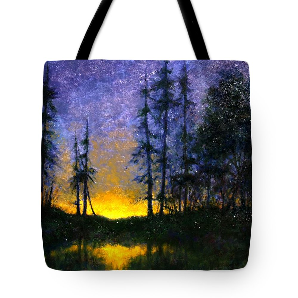 Landscape. Nocturn Tote Bag featuring the painting Timberline by Jim Gola