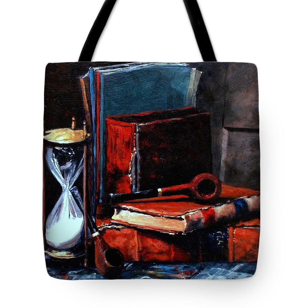 Still Life Painting Tote Bag featuring the painting Time And Old Friends by Jim Gola