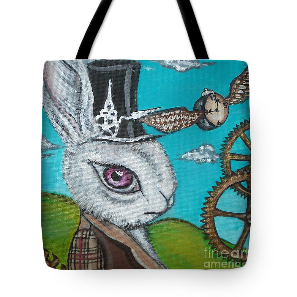 Alice In Wonderland Tote Bag featuring the painting Time Flies For The White Rabbit by Jaz Higgins