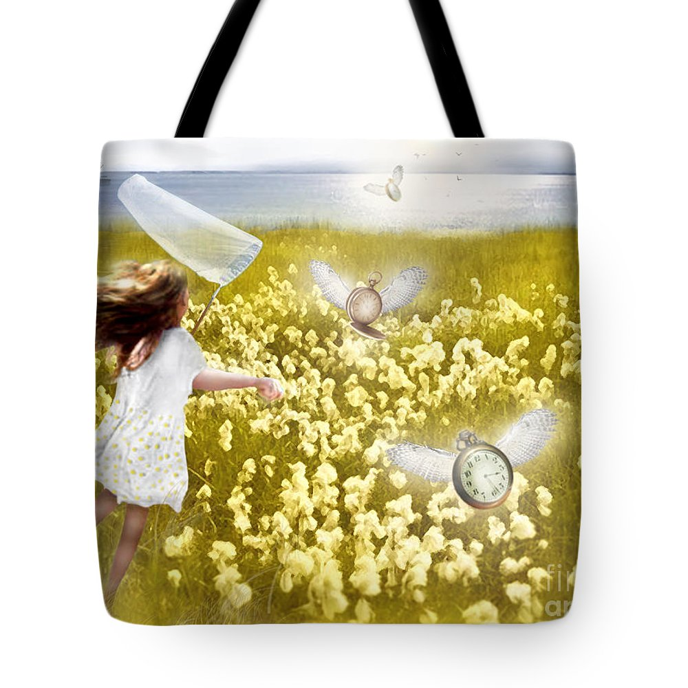 Time Flys When You're Having Fun Tote Bag featuring the mixed media Time Flys When You're Having Fun by Carrie Jackson