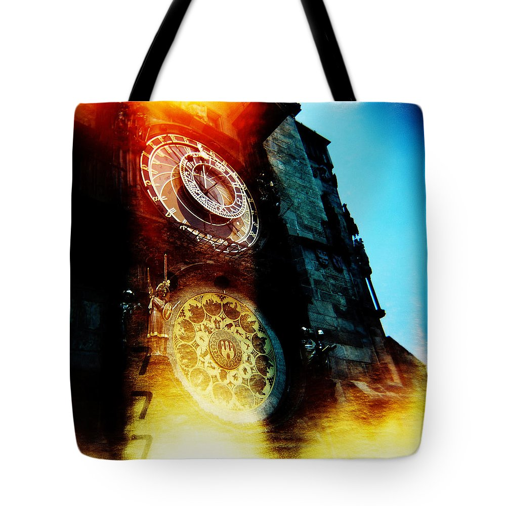 Clock Time Holga Color Photograph Praha Tote Bag featuring the photograph Time Is Burning by Olivier De Rycke