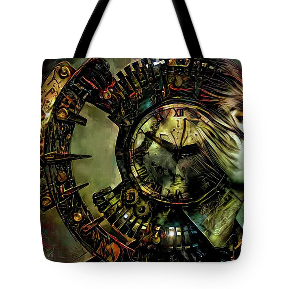 Time Tote Bag featuring the mixed media Time by Lilia D
