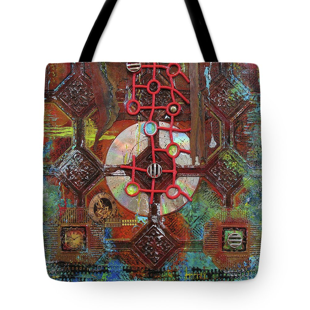Assemblage Painting Tote Bag featuring the painting Time Passage II by Elaine Booth-Kallweit