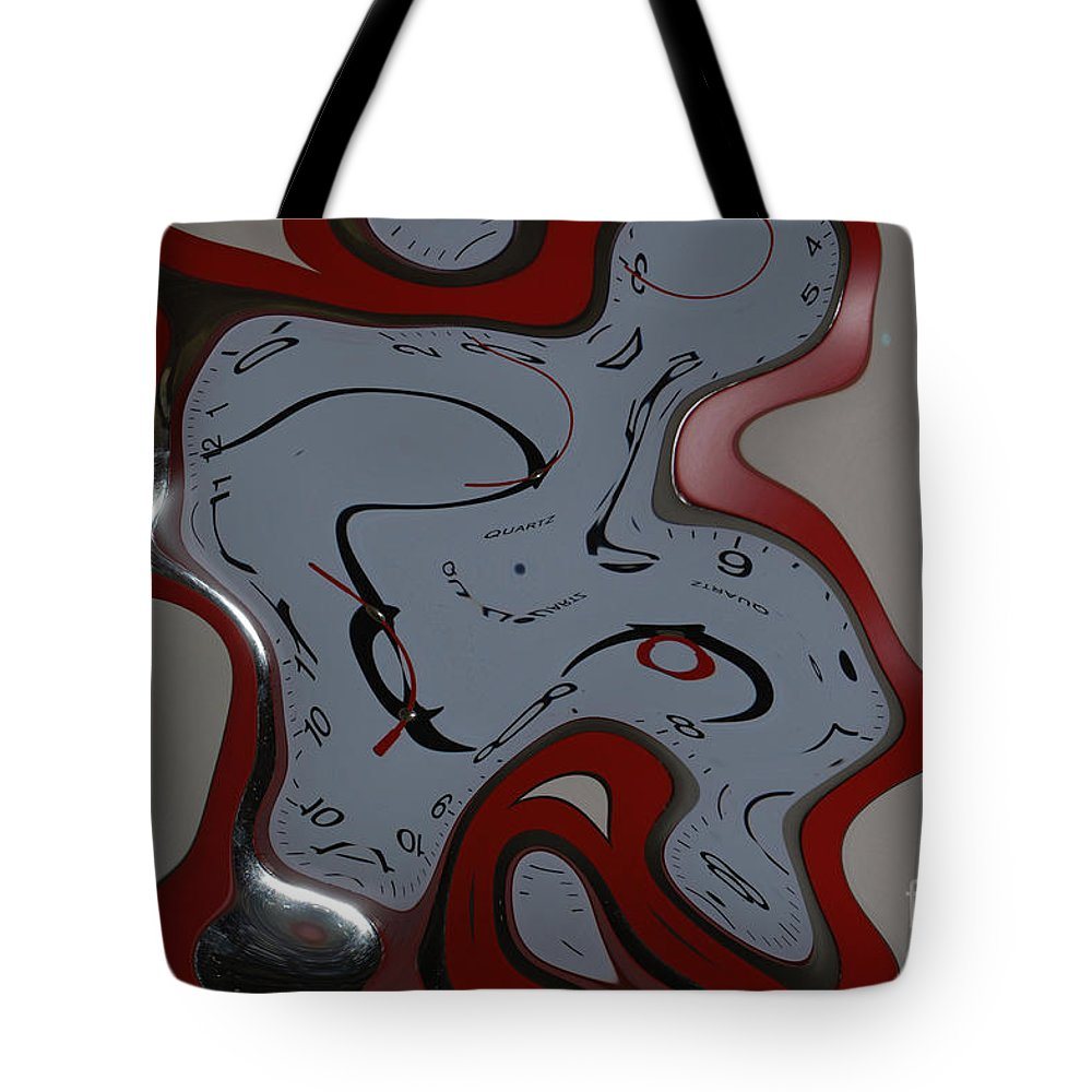 Clock Tote Bag featuring the photograph Time Seems To Melt Away by Donna Bentley