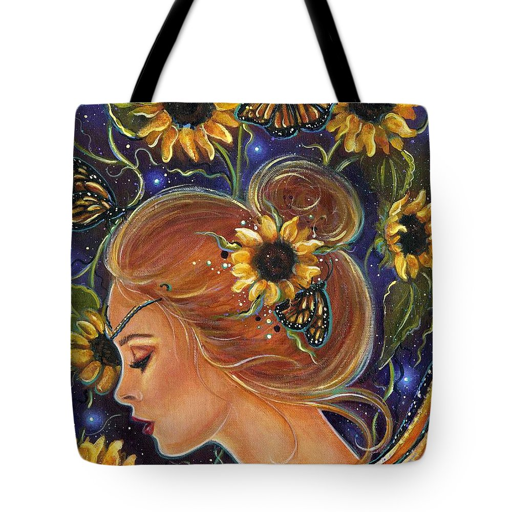 Sunflower Art Tote Bag featuring the painting Time to be free by Renee Lavoie