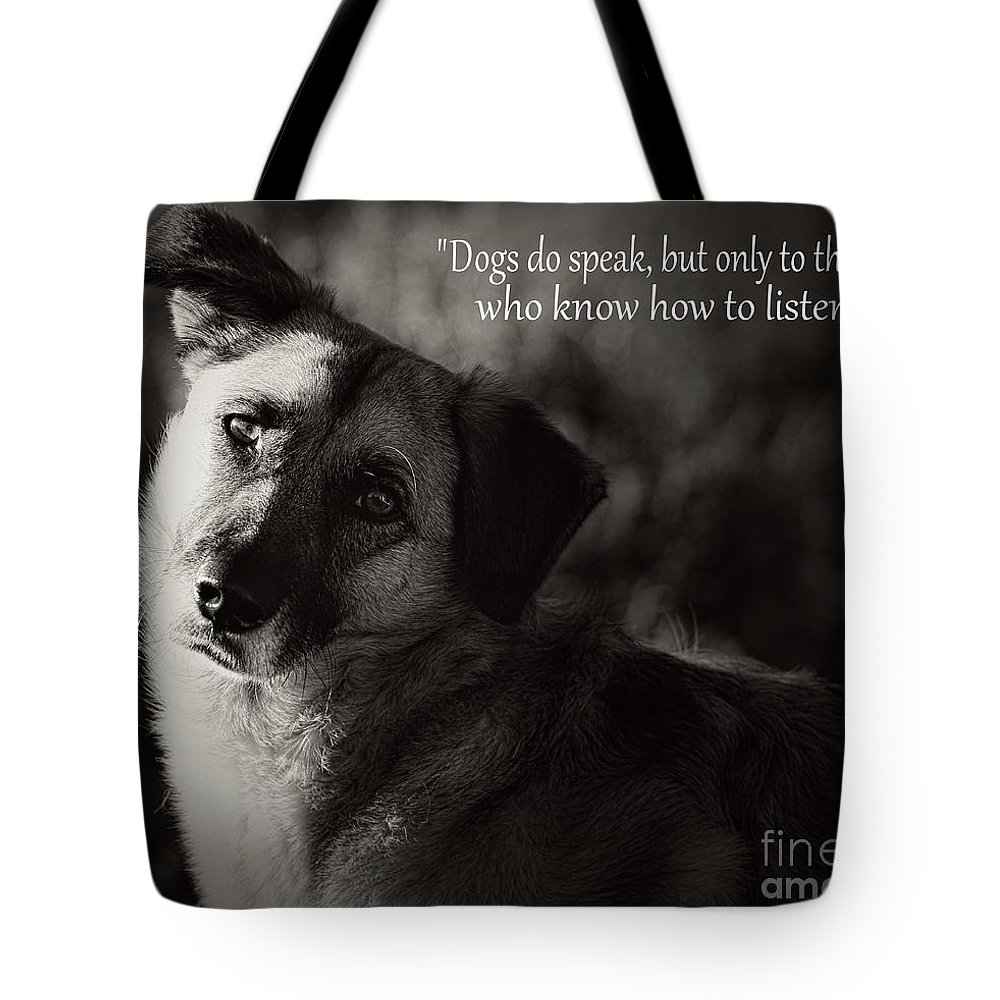 Dog Tote Bag featuring the photograph Time To Learn by Clare Bevan