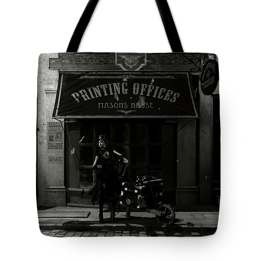 Steampunk Tote Bag featuring the digital art Time To Leave by J Ekstrom