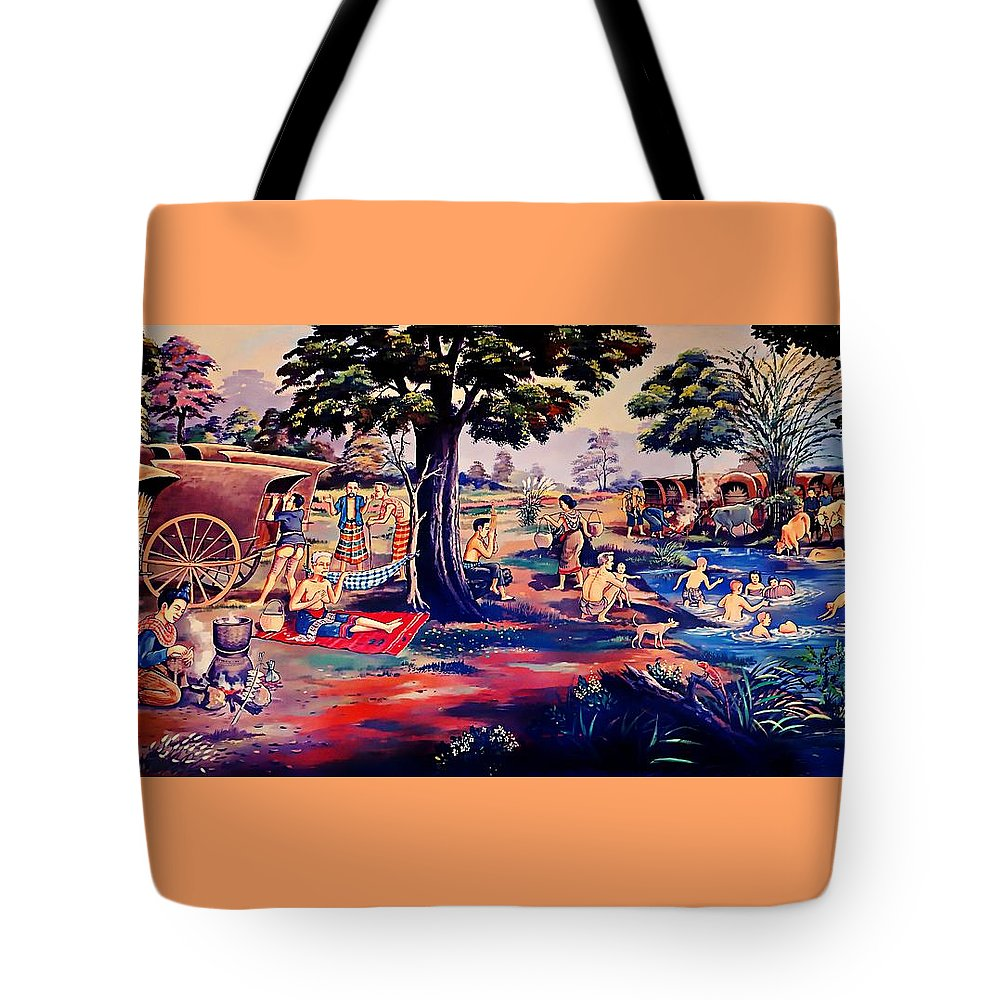 Thailand Tote Bag featuring the painting Time To Relax And Have Some Fun by Ian Gledhill
