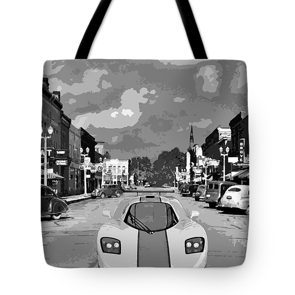 Race Car Tote Bag featuring the digital art Time Travel by Bruce Roker