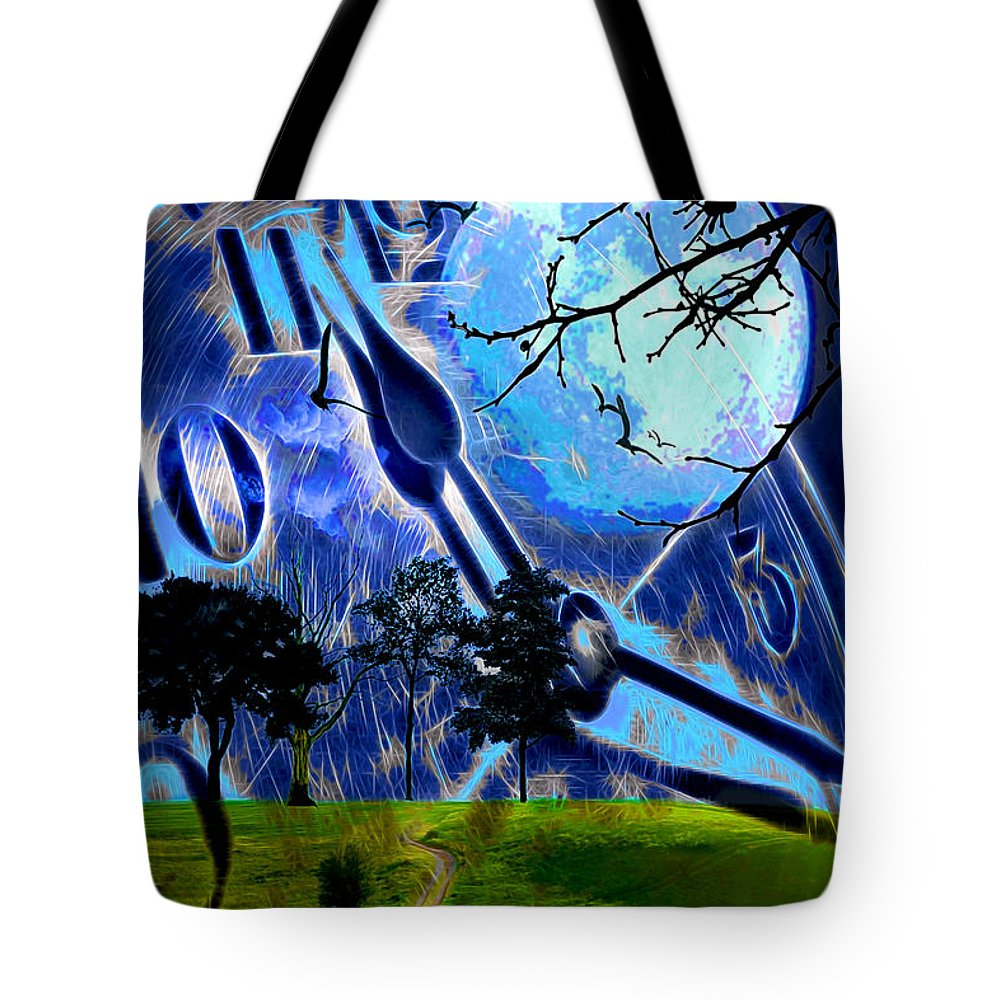 Clock Tote Bag featuring the digital art Time Travel by Pennie McCracken