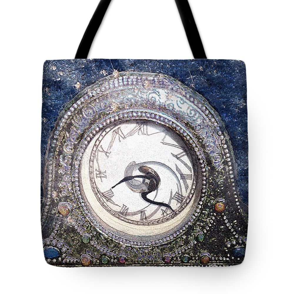 Clock Tote Bag featuring the painting Time Warp by RC DeWinter